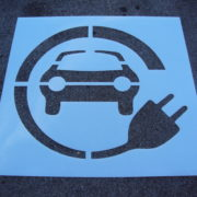 Green Electric Vehicle Stencils